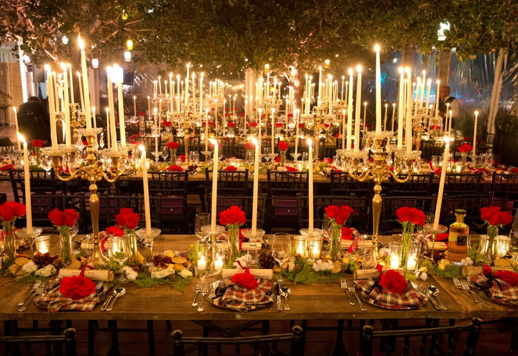 Candle Lit Festive Table Setting